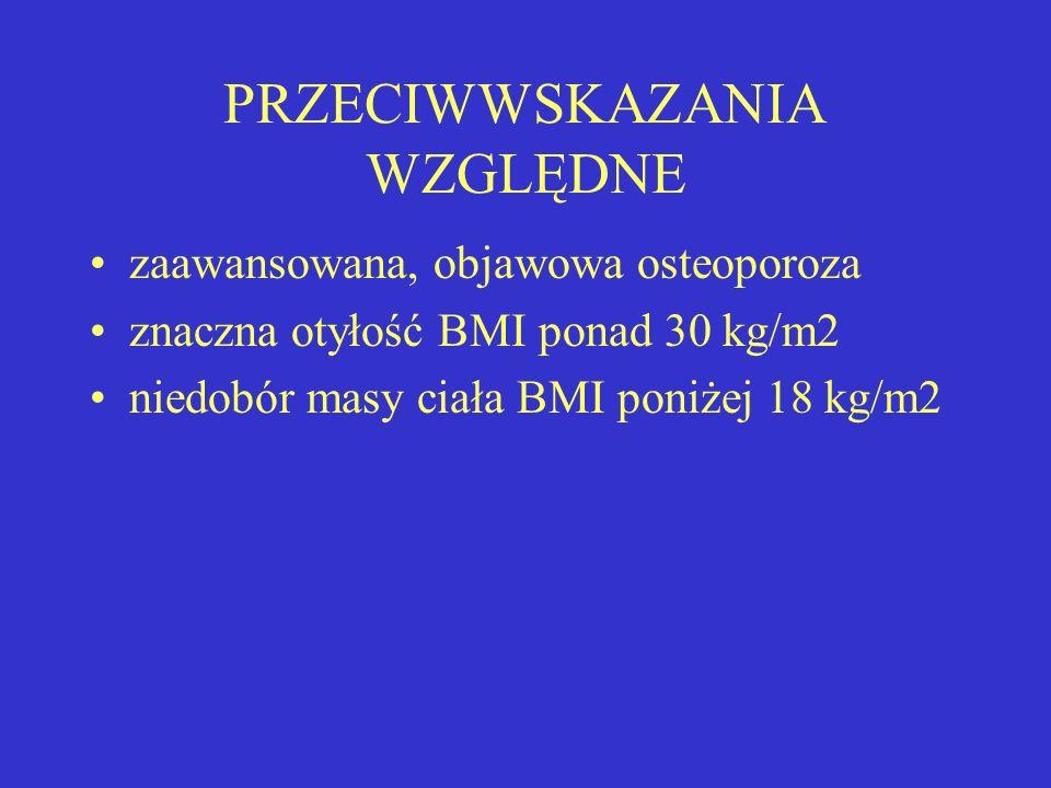 PRZECIWWSKAZANIA WZGLĘDNE zaawansowana, objawowa osteoporoza znaczna otyłość BMI ponad 30 kg/m2 niedobór masy ciała BMI poniżej 18 kg/m2