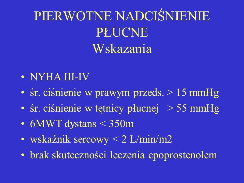 PIERWOTNE NADCIŚNIENIE PŁUCNE Wskazania NYHA III-IV śr. ciśnienie w prawym przeds. > 15 mmHg śr. ciśnienie w tętnicy płucnej > 55 mmHg 6MWT dystans <