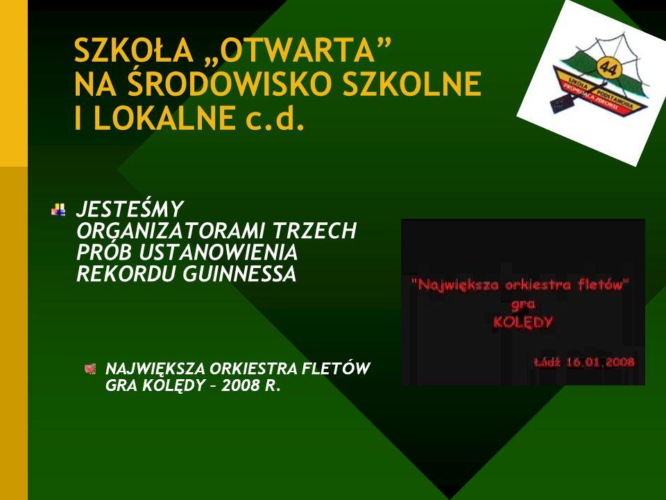 SZKOŁA OTWARTA NA ŚRODOWISKO SZKOLNE I LOKALNE c.d.