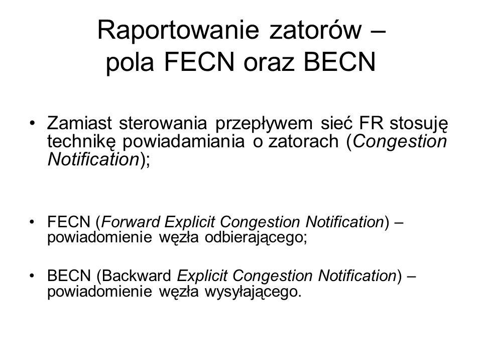 Raportowanie zatorów – pola FECN oraz BECN Zamiast sterowania przepływem sieć FR stosuję technikę powiadamiania o zatorach (Congestion Notification);