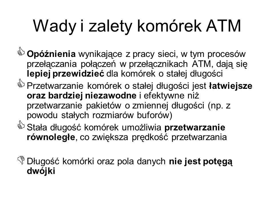 Wady i zalety komórek ATM Opóźnienia wynikające z pracy sieci, w tym procesów przełączania połączeń w przełącznikach ATM, dają się lepiej przewidzieć