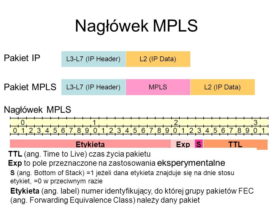 Nagłówek MPLS L3-L7 (IP Header)L2 (IP Data) Pakiet IP L3-L7 (IP Header)L2 (IP Data) Pakiet MPLS MPLS Nagłówek MPLS 0 1 2 3 0 1 2 3 4 5 6 7 8 9 0 1 2 3