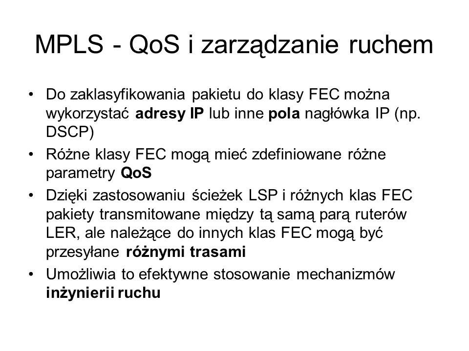 MPLS - QoS i zarządzanie ruchem Do zaklasyfikowania pakietu do klasy FEC można wykorzystać adresy IP lub inne pola nagłówka IP (np. DSCP) Różne klasy