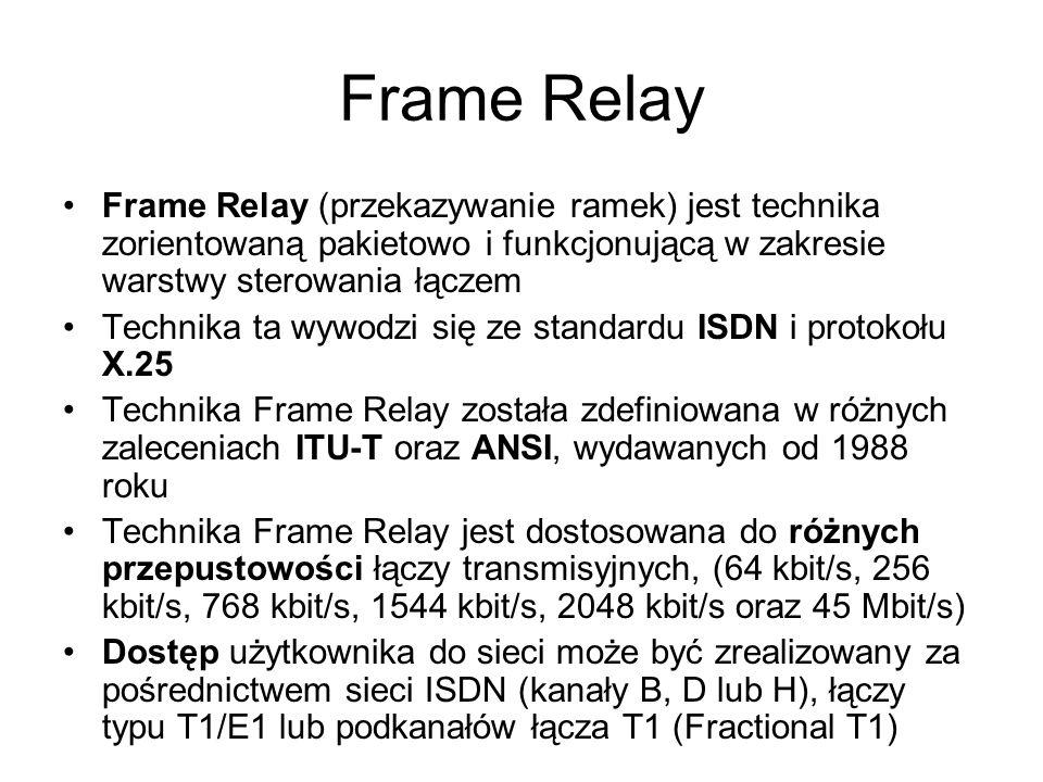 Geneza Frame Relay Technika Frame Relay została opracowana z myślą o pełnym wykorzystaniu własności nowoczesnych łączy transmisyjnych o bardzo małym prawdopodobieństwie występowania błędów Przełączniki sieci z przekazywaniem ramek nie dokonują kontroli przepływu i korekcji błędów, a jedynie przesyłają ramki wzdłuż wcześniej ustanowionych połączeń wirtualnych Funkcje sterowania przepływem oraz funkcje korekcji błędów są realizowane poza siecią w systemach użytkowników końcowych Potwierdzenia poprawnego odbioru ramek wymieniane są wyłącznie między tymi systemami Pozwala to na uzyskanie bardzo małych opóźnień przy przesyłaniu pakietów, nawet do 2 ms