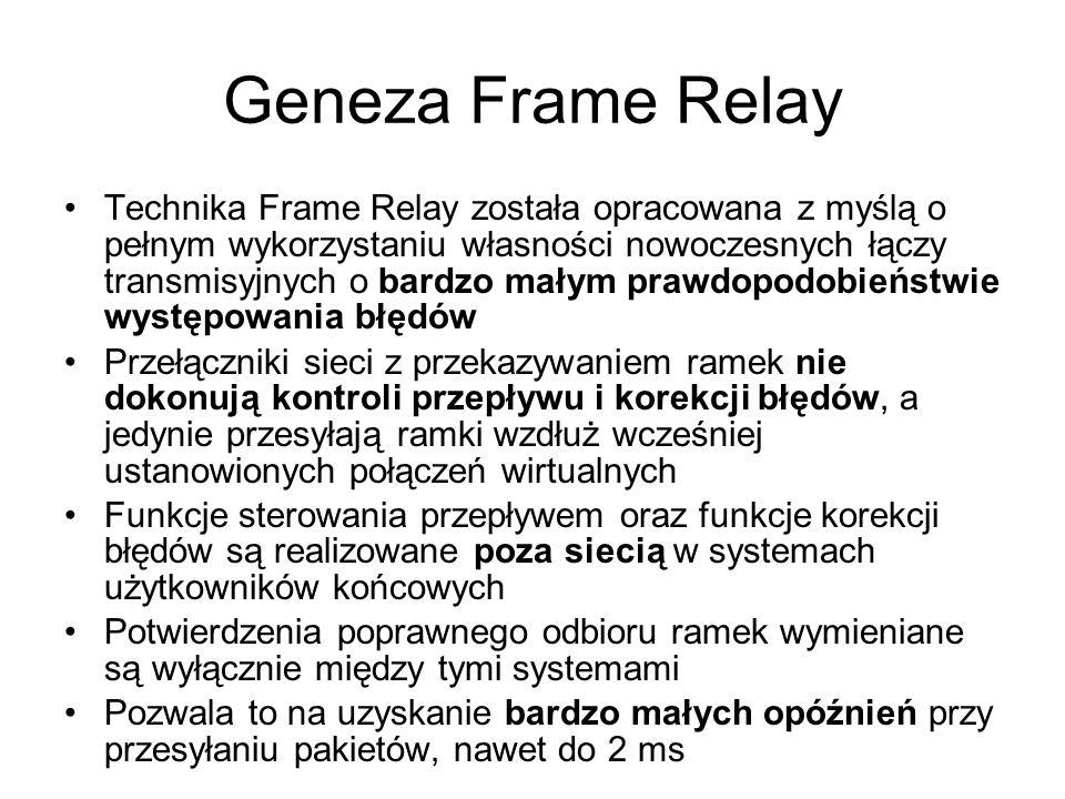 Geneza Frame Relay Technika Frame Relay została opracowana z myślą o pełnym wykorzystaniu własności nowoczesnych łączy transmisyjnych o bardzo małym p