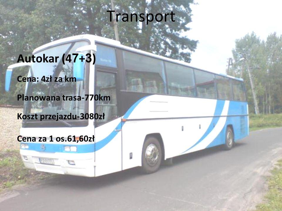 Transport Autokar (4 7 + 3 ) Cena: 4zł za km Planowana trasa-770km Koszt przejazdu-3080zł Cena za 1 os.61,60zł