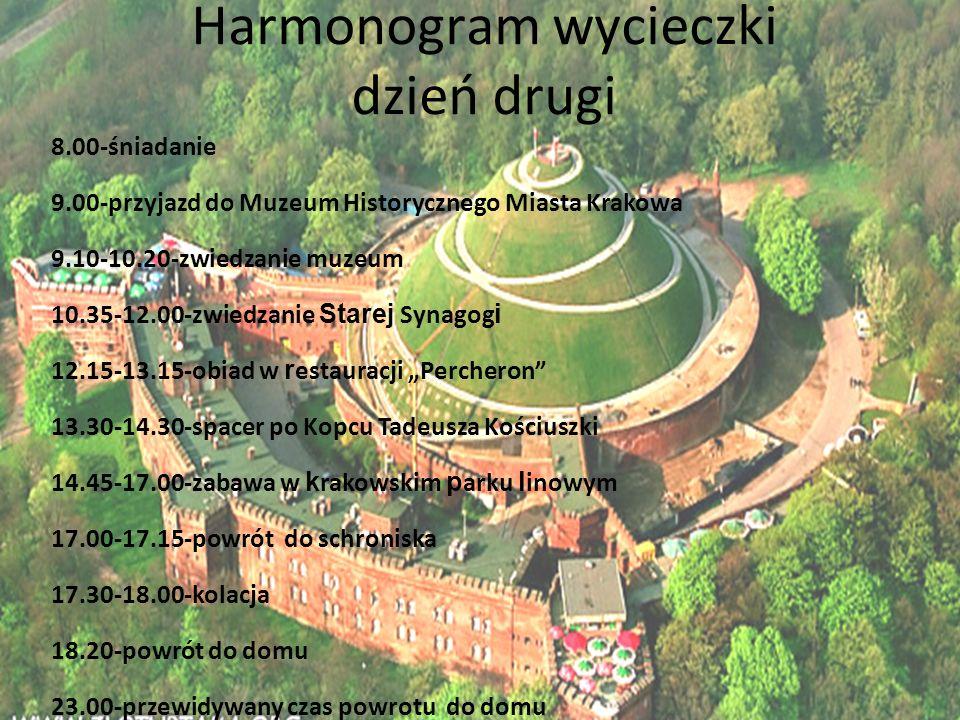 Harmonogram wycieczki dzień drugi 8.00-śniadanie 9.00-przyjazd do Muzeum Historycznego Miasta Krakowa 9.10-10.20-zwiedzanie muzeum 10.35-12.00-zwiedza