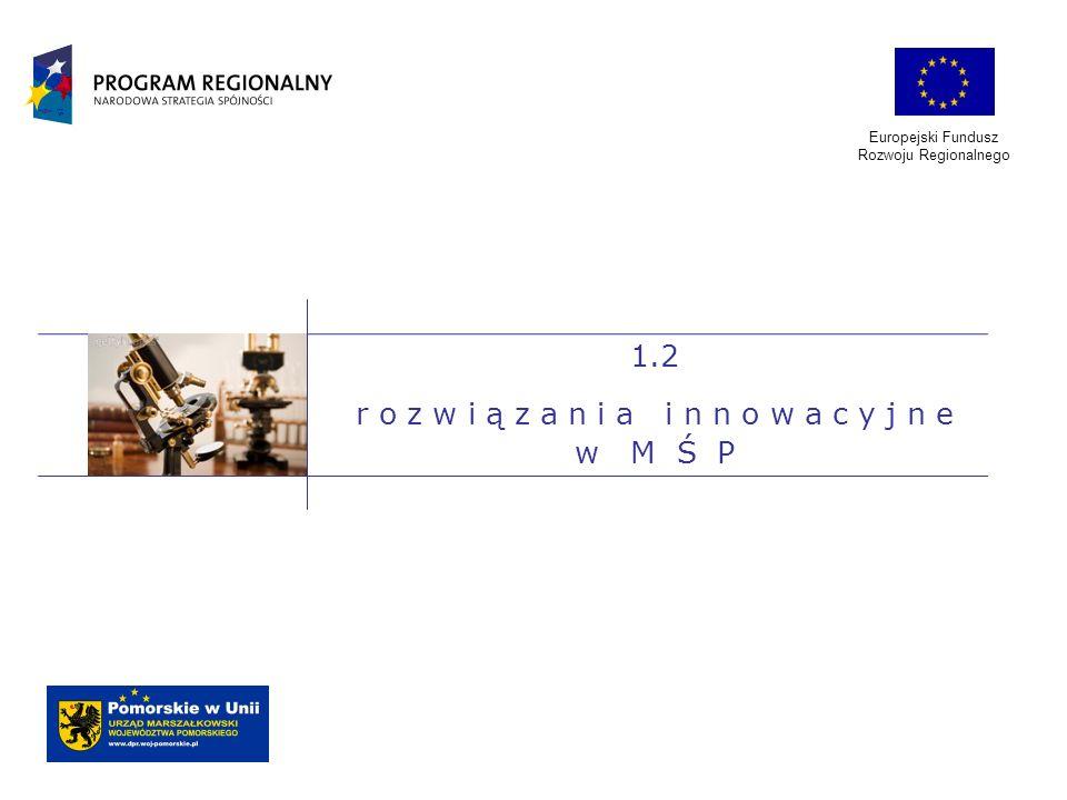 Europejski Fundusz Rozwoju Regionalnego 1.2 r o z w i ą z a n i a i n n o w a c y j n e w M Ś P