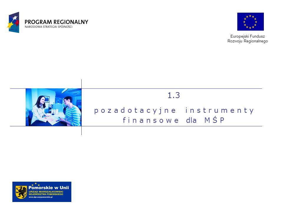 Europejski Fundusz Rozwoju Regionalnego 1.3 p o z a d o t a c y j n e i n s t r u m e n t y f i n a n s o w e dla M Ś P
