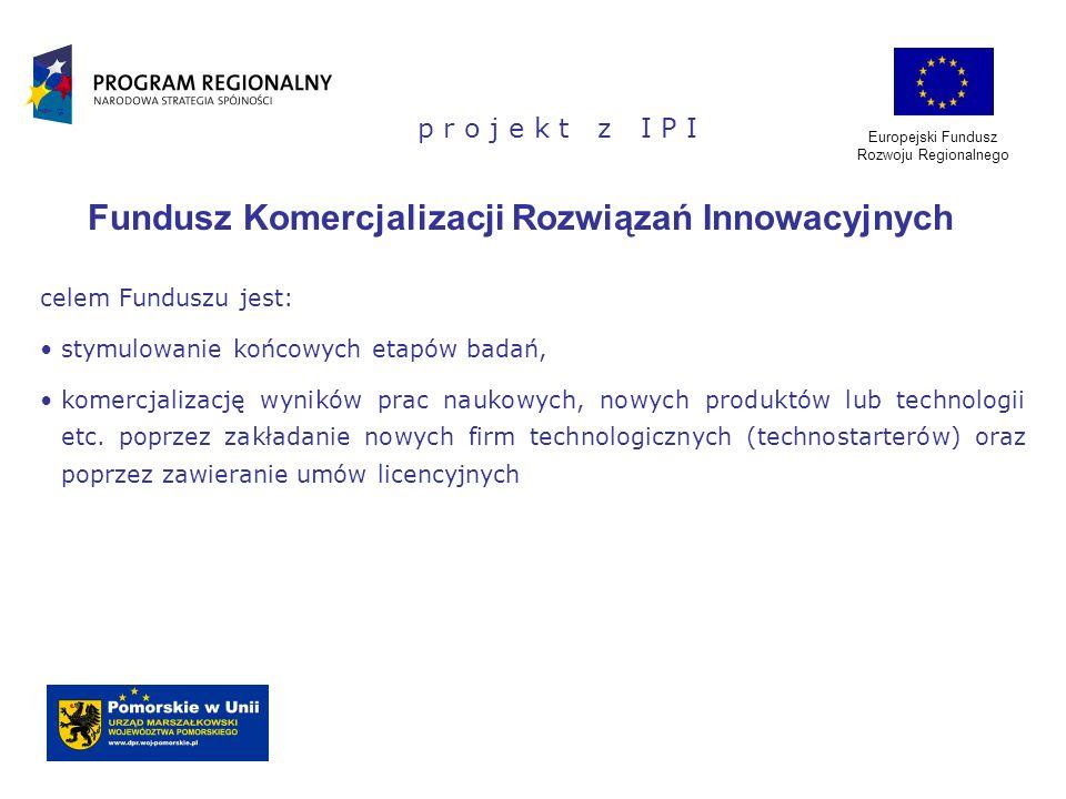 Europejski Fundusz Rozwoju Regionalnego p r o j e k t z I P I Fundusz Komercjalizacji Rozwiązań Innowacyjnych celem Funduszu jest: stymulowanie końcow