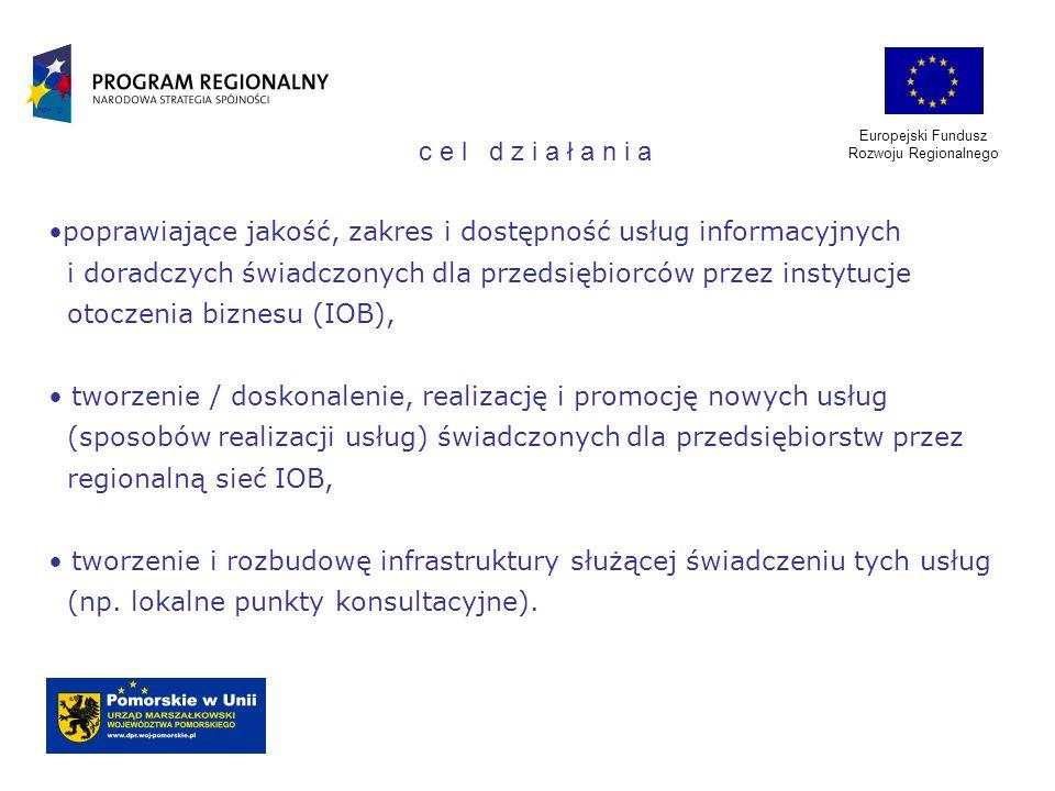Europejski Fundusz Rozwoju Regionalnego poprawiające jakość, zakres i dostępność usług informacyjnych i doradczych świadczonych dla przedsiębiorców pr