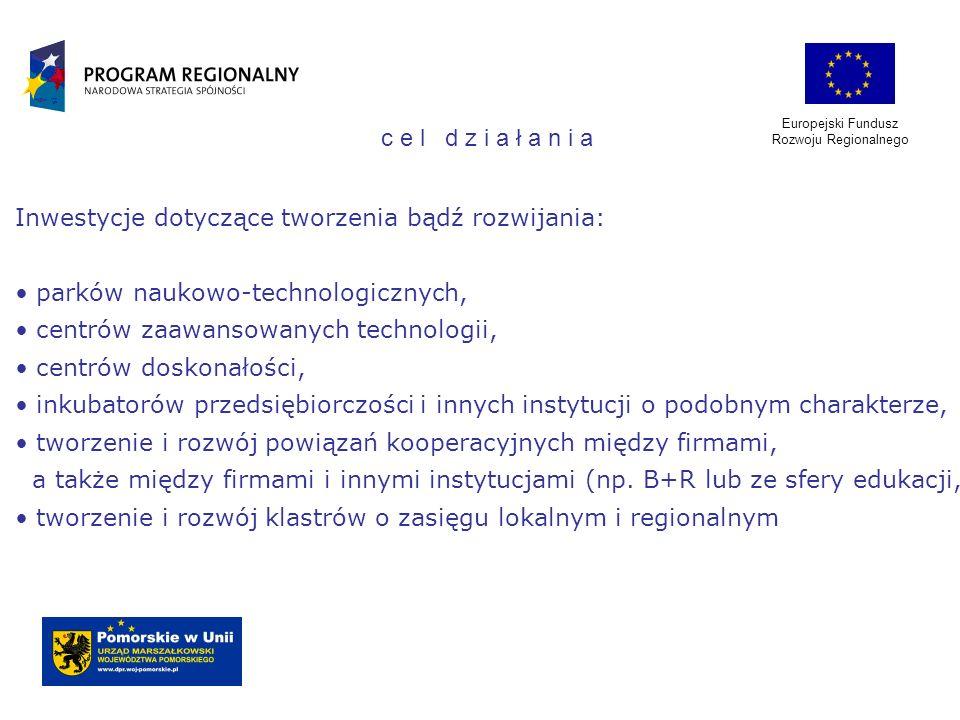 Europejski Fundusz Rozwoju Regionalnego Inwestycje dotyczące tworzenia bądź rozwijania: parków naukowo-technologicznych, centrów zaawansowanych techno