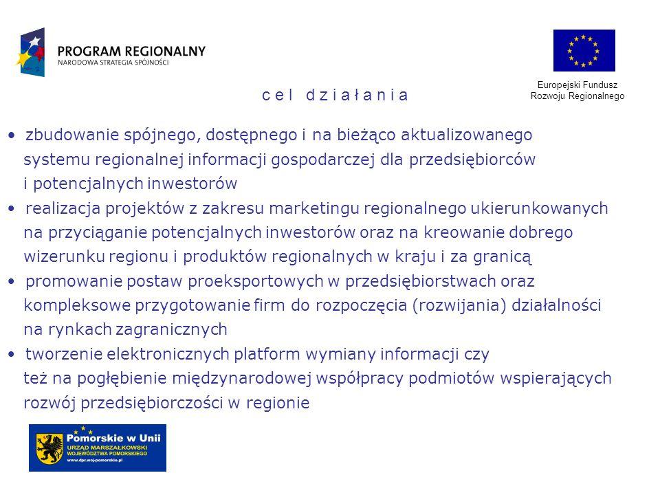 Europejski Fundusz Rozwoju Regionalnego zbudowanie spójnego, dostępnego i na bieżąco aktualizowanego systemu regionalnej informacji gospodarczej dla p