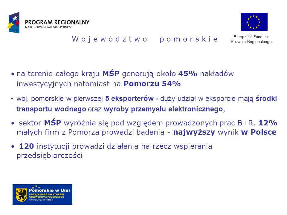 Europejski Fundusz Rozwoju Regionalnego W o j e w ó d z t w o p o m o r s k i e na terenie całego kraju MŚP generują około 45% nakładów inwestycyjnych