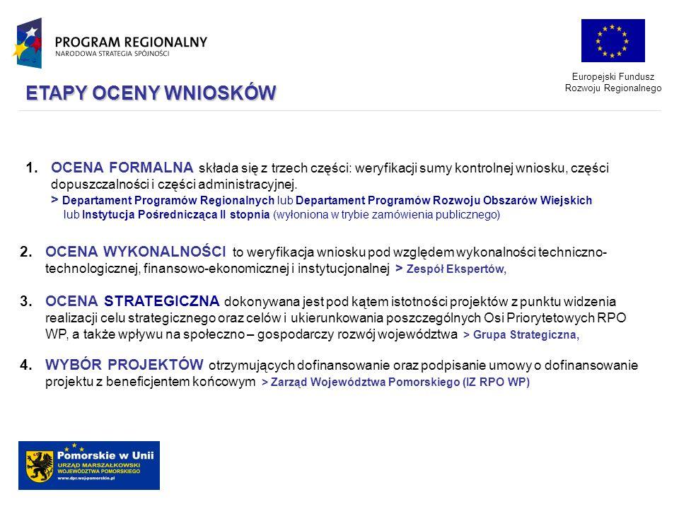 Europejski Fundusz Rozwoju Regionalnego 1.OCENA FORMALNA składa się z trzech części: weryfikacji sumy kontrolnej wniosku, części dopuszczalności i czę