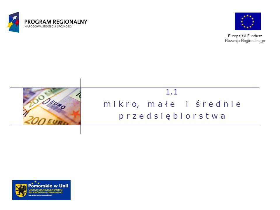 Europejski Fundusz Rozwoju Regionalnego rozbudowa lub rozszerzenie działalności przedsiębiorstw, poprawa wydajności pracy i jakości zarządzania firmami, np.