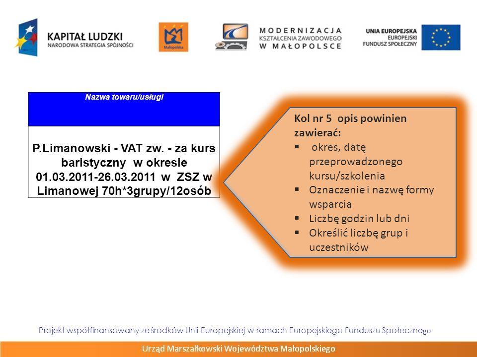 Projekt współfinansowany ze środków Unii Europejskiej w ramach Europejskiego Funduszu Społeczne go Nazwa towaru/usługi P.Limanowski - VAT zw. - za kur