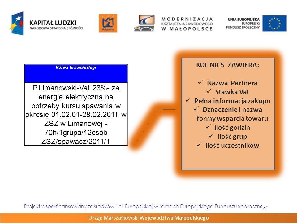 Nazwa towaru/usługi P.Limanowski-Vat 23%- za energię elektryczną na potrzeby kursu spawania w okresie 01.02.01-28.02.2011 w ZSZ w Limanowej - 70h/1gru