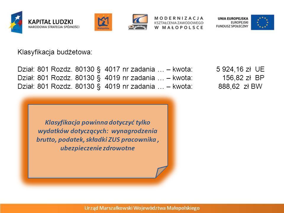 Klasyfikacja budżetowa: Dział: 801 Rozdz. 80130 § 4017 nr zadania … – kwota: 5 924,16 zł UE Dział: 801 Rozdz. 80130 § 4019 nr zadania … – kwota: 156,8