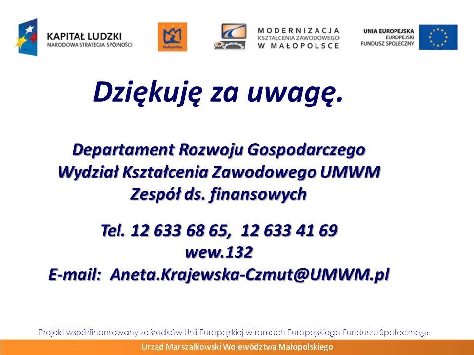 Dziękuję za uwagę. Departament Rozwoju Gospodarczego Wydział Kształcenia Zawodowego UMWM Zespół ds. finansowych Tel. 12 633 68 65, 12 633 41 69 wew.13