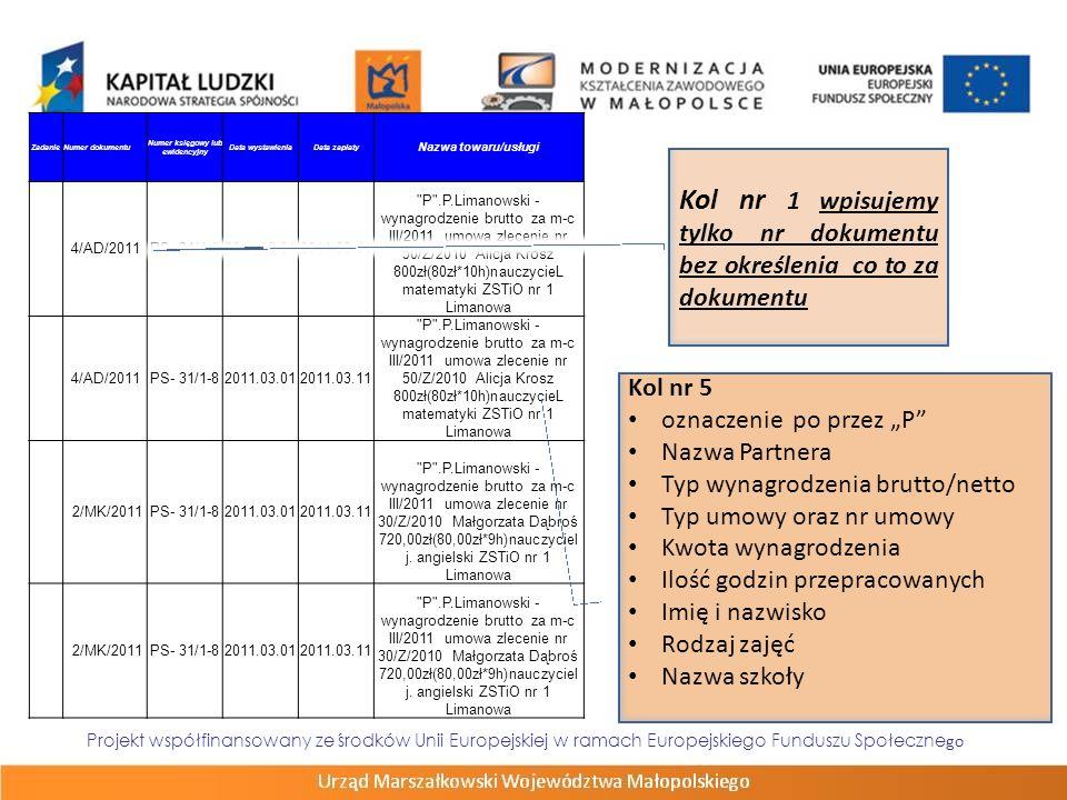 Projekt współfinansowany ze środków Unii Europejskiej w ramach Europejskiego Funduszu Społeczne go ZadanieNumer dokumentu Numer księgowy lub ewidencyj