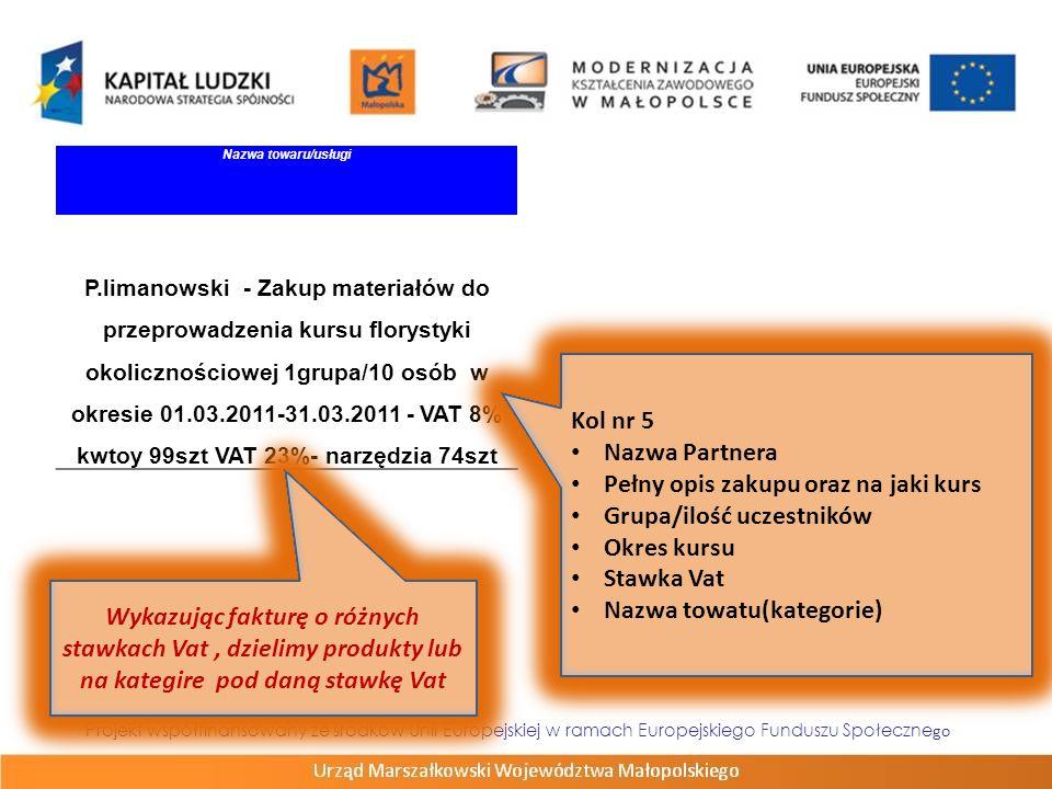 Projekt współfinansowany ze środków Unii Europejskiej w ramach Europejskiego Funduszu Społeczne go Zadani e Numer dokumentu Numer księgowy lub ewidencyjny Data wystawienia Data zapłatyNazwa towaru/usługicros s- finan cing (T/N) Zadan ia zleco ne (T/N) Kwota brutto dokum entu Kwot a netto doku ment u Kwota wydat ków kwalifi kowa nych w tym VA T żródło finans owani a 0009/11/FVS12/III/2011, 15/III/20112011.03.262011.03.31 P.Limanowski - VAT zw.