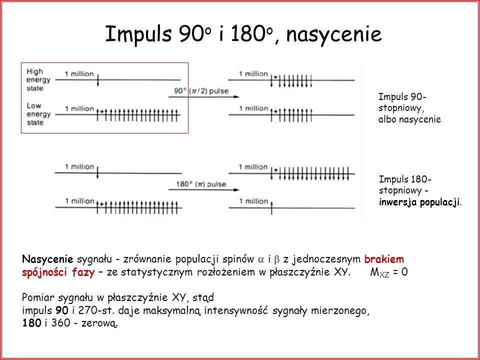 Impuls 90 o i 180 o, nasycenie Nasycenie sygnału - zrównanie populacji spinów i z jednoczesnym brakiem spójności fazy – ze statystycznym rozłożeniem w