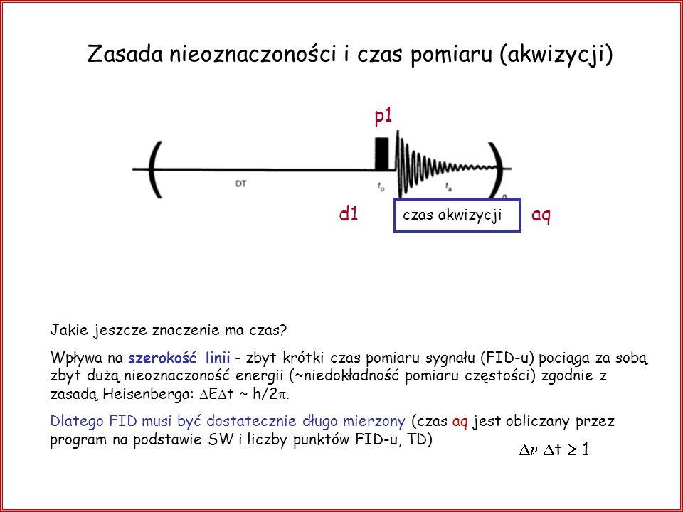 Zasada nieoznaczoności i czas pomiaru (akwizycji) Jakie jeszcze znaczenie ma czas? Wpływa na szerokość linii - zbyt krótki czas pomiaru sygnału (FID-u