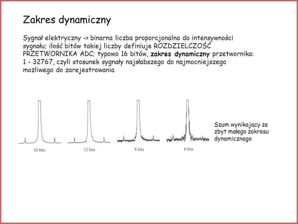 Zakres dynamiczny Sygnał elektryczny -> binarna liczba proporcjonalna do intensywności sygnału; ilość bitów takiej liczby definiuje ROZDZIELCZOŚĆ PRZE