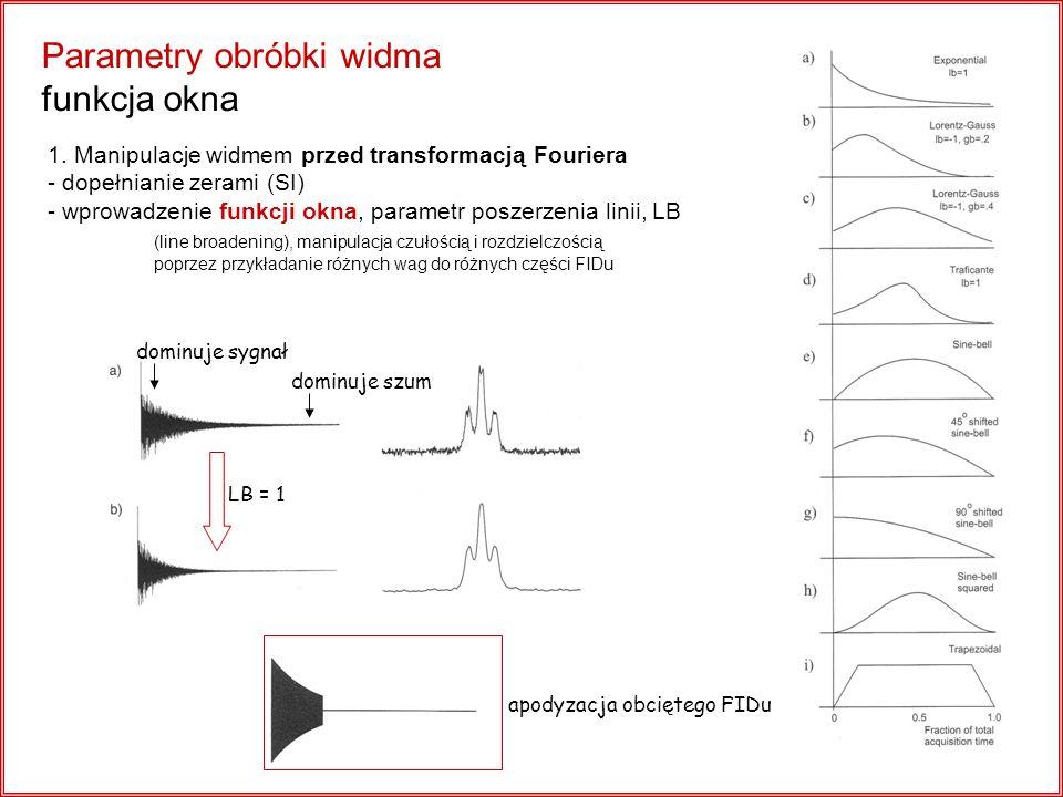 Parametry obróbki widma funkcja okna 1. Manipulacje widmem przed transformacją Fouriera - dopełnianie zerami (SI) - wprowadzenie funkcji okna, paramet