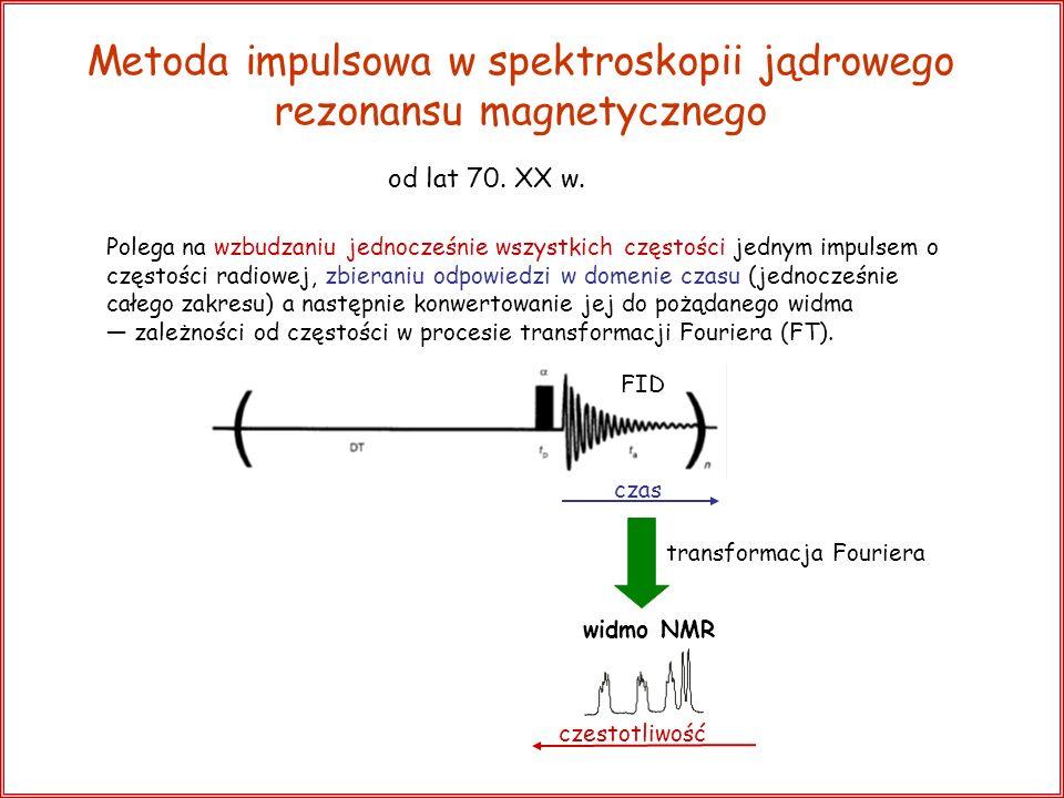 Klasyczny opis zjawiska NMR użyteczny przy rozpatrywaniu technik impulsowych opis kwantowy: BoBo E E = h m I = + 1 / 2 m I = - 1 / 2 opis klasyczny: Jądro magnetyczne traktowane jest jako dipol magnetyczny; B 0 usiłuje ustawić go zgodnie z kierunkiem B 0, ale własny moment pędu jądra wywołuje ruch precesyjny wektora precesję Larmora.