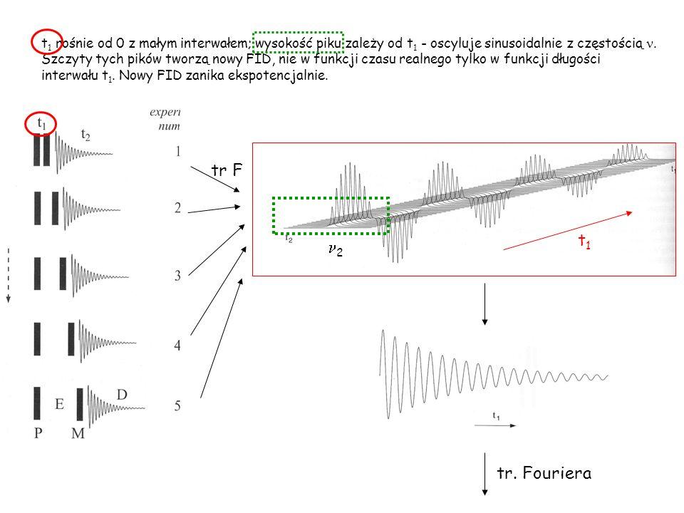 tr F t1t1 2 tr. Fouriera t 1 rośnie od 0 z małym interwałem; wysokość piku zależy od t 1 - oscyluje sinusoidalnie z częstością. Szczyty tych pików two