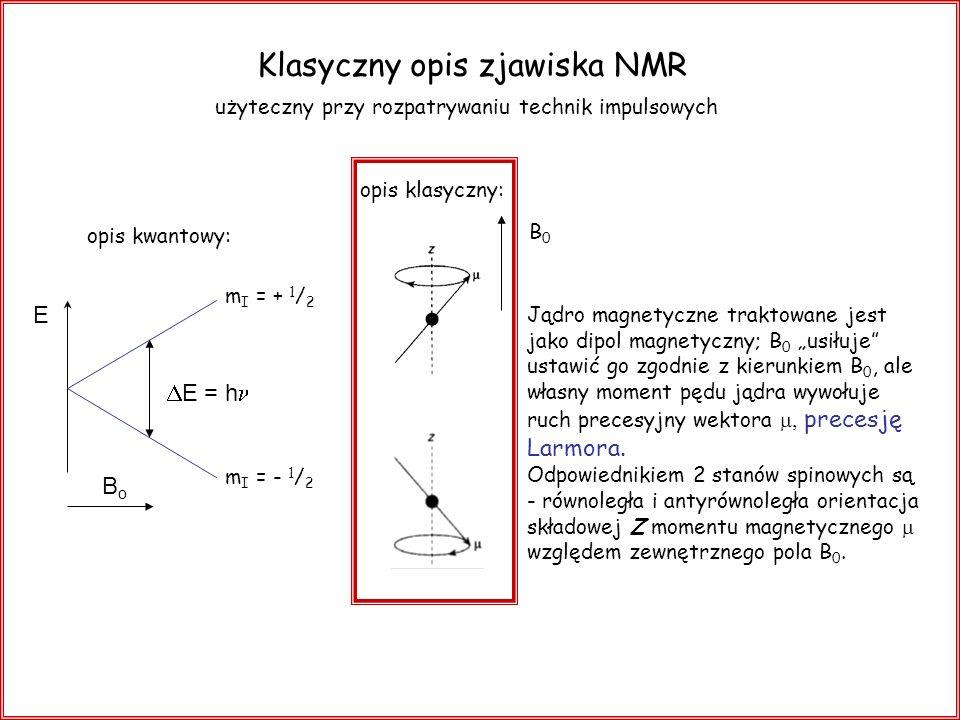 Klasyczny opis zjawiska NMR użyteczny przy rozpatrywaniu technik impulsowych opis kwantowy: BoBo E E = h m I = + 1 / 2 m I = - 1 / 2 opis klasyczny: J
