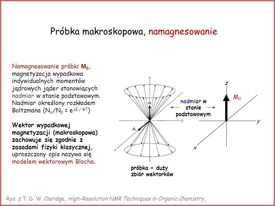 Fala radiowa, B 1 ; rotujący układ wsp ó łrzędnych Oscylujące pole magnetyczne B 1 (wzdłuż osi x): Rotujący z częstością Larmora układ współrzędnych: obraz statyczny, ruch precesyjny zamrożony Laboratoryjny układ współrzędnych: pole B 1 oscylujące ( o ) pole B 1 statyczne Rys.