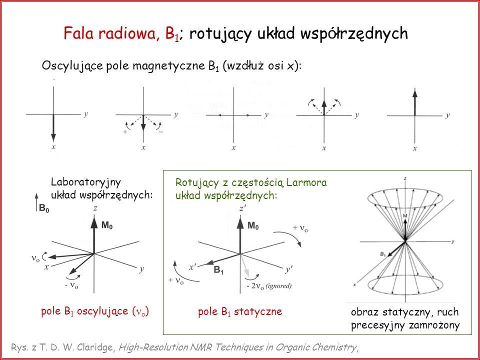 Fala radiowa, B 1 ; rotujący układ wsp ó łrzędnych Oscylujące pole magnetyczne B 1 (wzdłuż osi x): Rotujący z częstością Larmora układ współrzędnych: