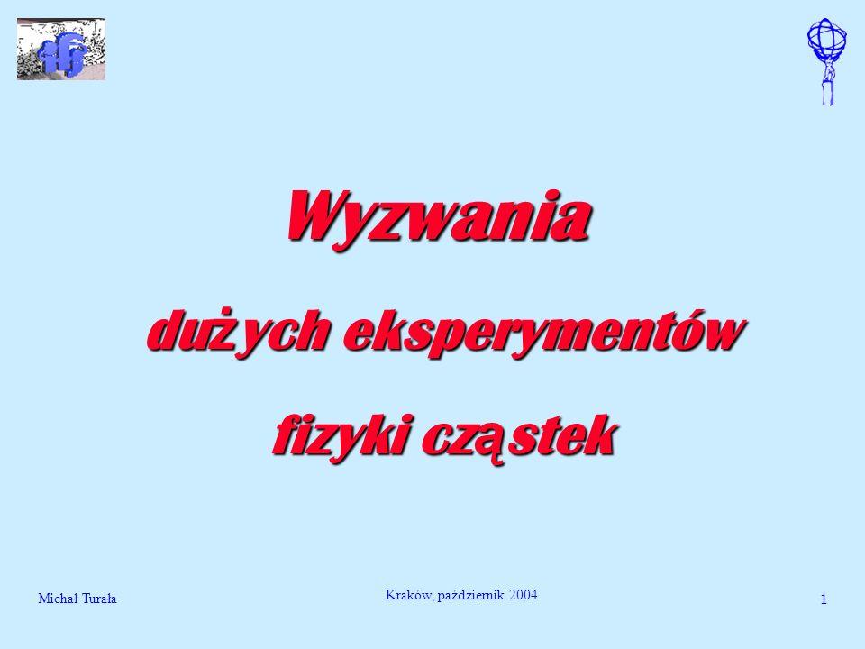 Michał Turała2 Kraków, październik 2004 Wyzwania naukowe, techniczne i socjologiczne du ż ych eksperymentów Du ż e projekty badawcze fizyki cz ą stek Problemy fizyki cz ą stek Laboratorium CERN Akcelerator LHC Eksperyment ATLAS