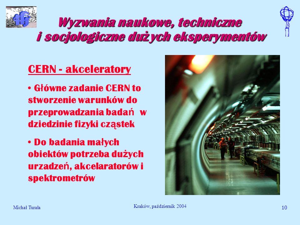 Michał Turała10 Kraków, październik 2004 Wyzwania naukowe, techniczne i socjologiczne du ż ych eksperymentów CERN - akceleratory G ł ówne zadanie CERN