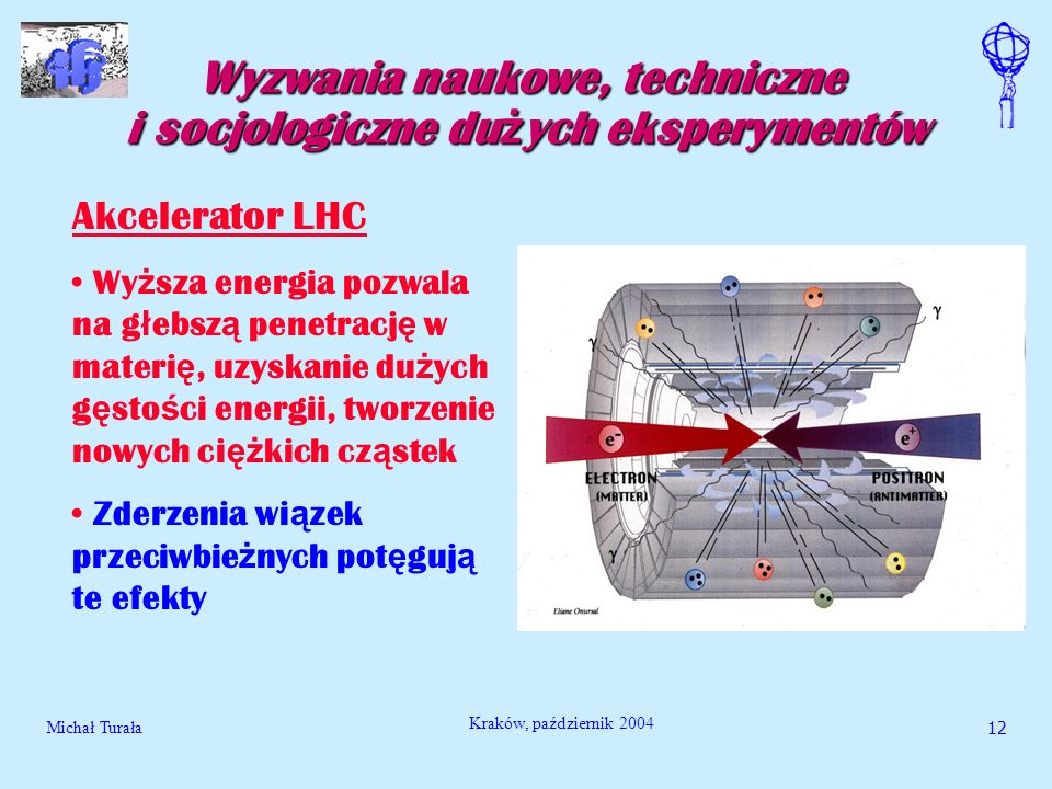 Michał Turała13 Kraków, październik 2004 Wyzwania naukowe, techniczne i socjologiczne du ż ych eksperymentów Akcelerator LHC LHC bedzie produkowa ć protony o energiach 7 000 000 000 000 eV Aby osi ą gnac takie energie, bez astronomicznych rozmiarów maszyny, cz ą stki b ę d ą kr ą zy ć po ko ł owej orbicie i b ę d ą popychane wielokrotnie - obwód pierscienia wynosi 27 km