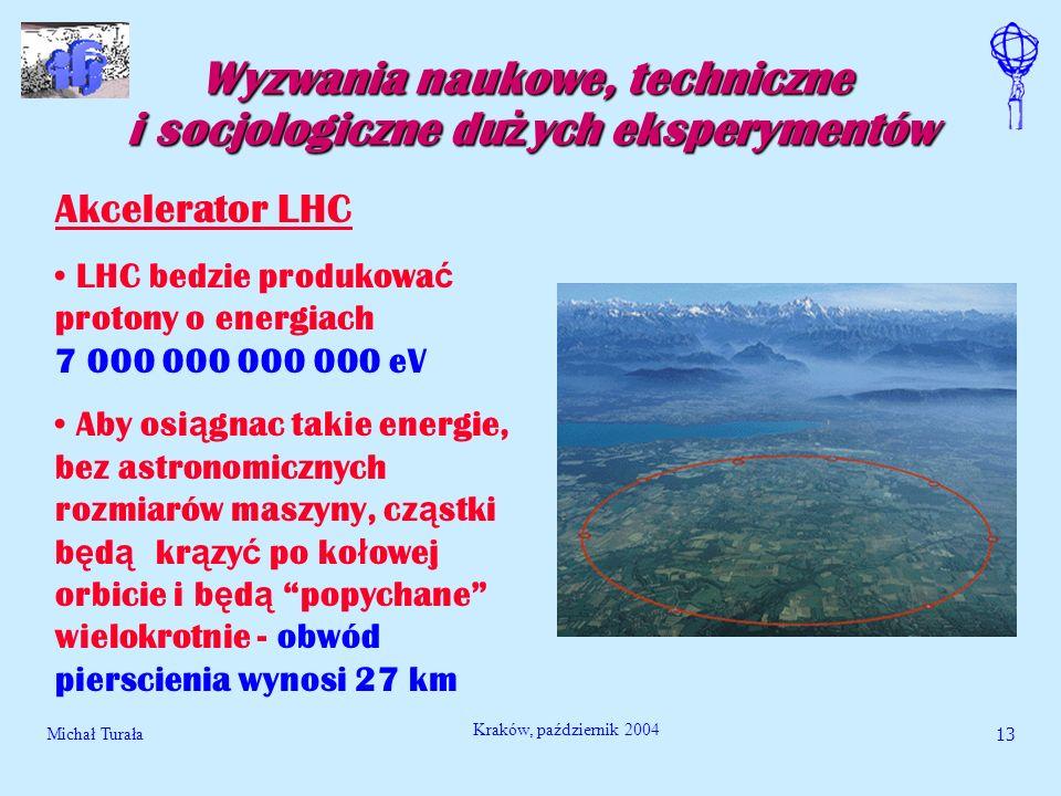 Michał Turała13 Kraków, październik 2004 Wyzwania naukowe, techniczne i socjologiczne du ż ych eksperymentów Akcelerator LHC LHC bedzie produkowa ć pr