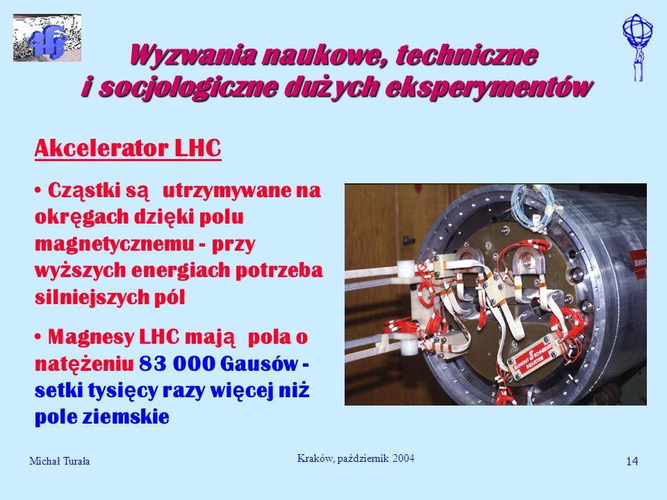 Michał Turała15 Kraków, październik 2004 Wyzwania naukowe, techniczne i socjologiczne du ż ych eksperymentów Akcelerator LHC Na wytworzenie takich pól normalnymi metodami potrzeba tyle energii elektrycznej ile zu ż ywa du ż e miasto B ę dzie ok.