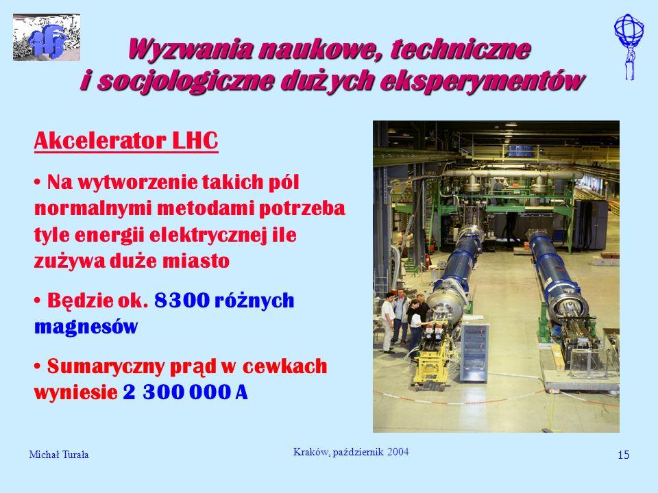 Michał Turała16 Kraków, październik 2004 Wyzwania naukowe, techniczne i socjologiczne du ż ych eksperymentów Akcelerator LHC Rozwi ą zaniem s ą magnesy nadprzewodz ą ce Pracuj ą w temperaturze nadciek ł ego helu, tj.