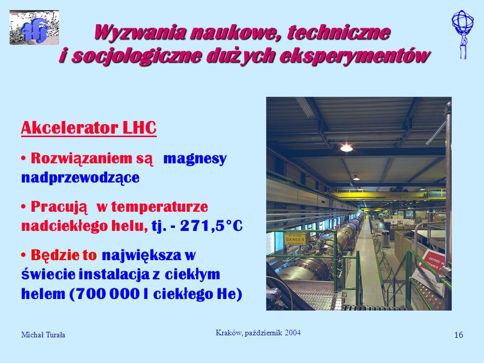 Michał Turała17 Kraków, październik 2004 Wyzwania naukowe, techniczne i socjologiczne du ż ych eksperymentów Akcelerator LHC W rurze akceleratora b ę dzie 300 000 000 000 000 protonów Dla dokonania pomiarów wi ę kszo ść z nich musi kr ąż y ć przez 10 godzin Aby to by ł o mo ż liwym potrzebna jest pró ż nia jak w kosmosie