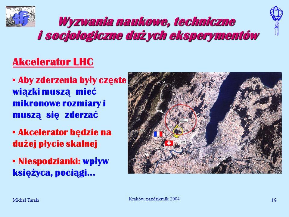 Michał Turała19 Kraków, październik 2004 Wyzwania naukowe, techniczne i socjologiczne du ż ych eksperymentów Akcelerator LHC Aby zderzenia by ł y cz ę