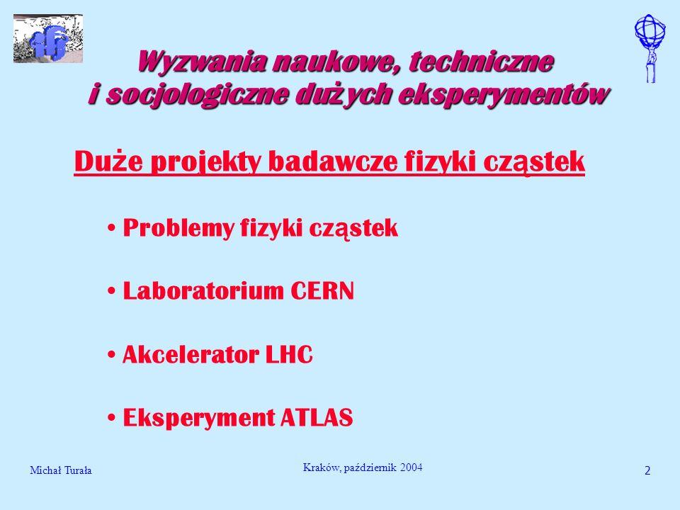 Michał Turała3 Kraków, październik 2004 Wyzwania naukowe, techniczne i socjologiczne du ż ych eksperymentów Problemy naukowe Szukanie odpowiedzi na fundamentalne pytania: pochodzenie masy.
