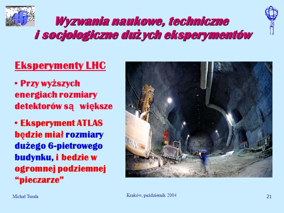 Michał Turała21 Kraków, październik 2004 Wyzwania naukowe, techniczne i socjologiczne du ż ych eksperymentów Eksperymenty LHC Przy wy ż szych energiac