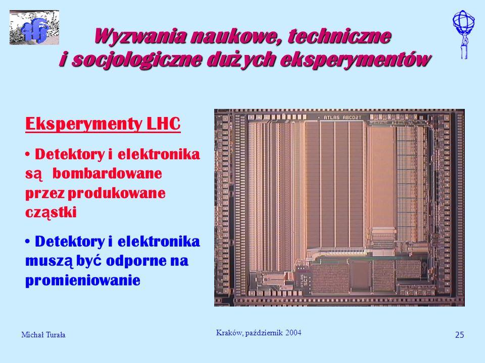 Michał Turała25 Kraków, październik 2004 Wyzwania naukowe, techniczne i socjologiczne du ż ych eksperymentów Eksperymenty LHC Detektory i elektronika