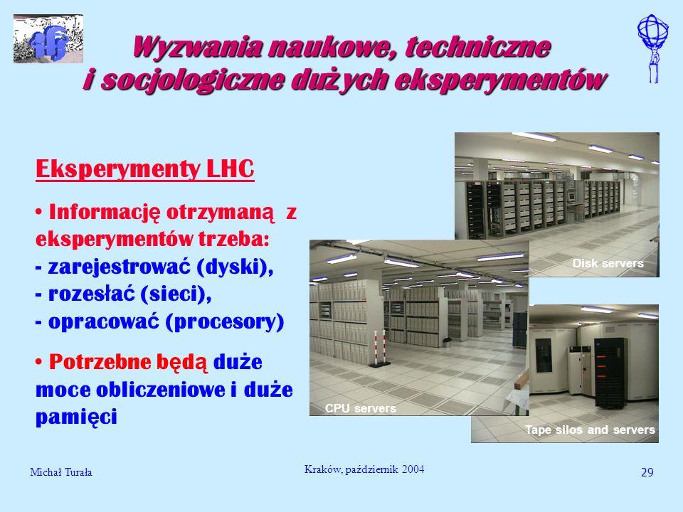 Michał Turała29 Kraków, październik 2004 Wyzwania naukowe, techniczne i socjologiczne du ż ych eksperymentów Eksperymenty LHC Informacj ę otrzyman ą z