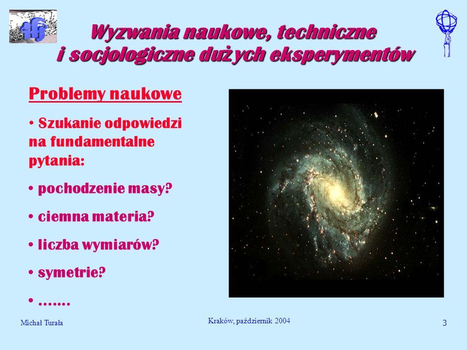 Michał Turała3 Kraków, październik 2004 Wyzwania naukowe, techniczne i socjologiczne du ż ych eksperymentów Problemy naukowe Szukanie odpowiedzi na fu