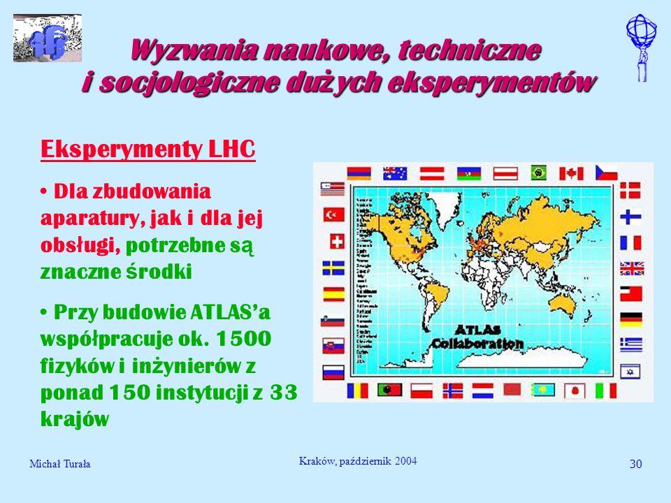 Michał Turała30 Kraków, październik 2004 Wyzwania naukowe, techniczne i socjologiczne du ż ych eksperymentów Eksperymenty LHC Dla zbudowania aparatury