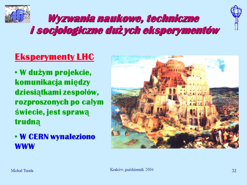 Michał Turała32 Kraków, październik 2004 Wyzwania naukowe, techniczne i socjologiczne du ż ych eksperymentów Eksperymenty LHC W du ż ym projekcie, kom